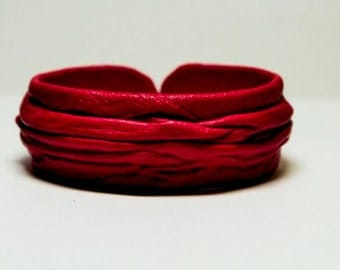 Red Genuine Leather Cuff Bracelet. Leather bangle wristband. Bracelet for women.