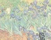 Vincent Van Gogh's Irises in a Field Cross Stitch Pattern PDF