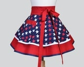 Womens Waist Apron , Cute Flirty Full Skirt Retro Half Apron Vintage Red White Blue Patrotic Stars Kitchen Cooking or Hostess Womans Apron