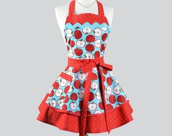 Ruffled Retro - Fall Market Apples Turquoise and Red Vintage Style Flirty Kitchen Cooking Apron Ideal to Personalize or Monogram