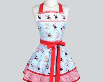 Ruffled Retro Apron . Womens Vintage Kitchen Cooking Christmas Peppermint Skating Penguins Apron Cute Flirty Full Pinup Womans Apron