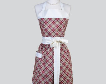 Full Bib Womens Apron , Plum Green and Ivory Plaid Check Full Kitsch Apron Personalize or Monogram