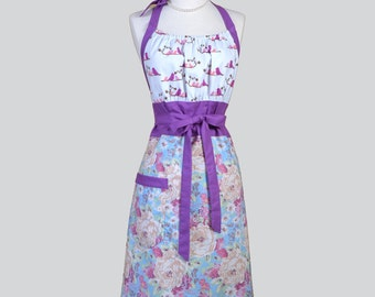 Cute Kitsch . Blue Violets with Birds Womens Kitchen Chef Apron