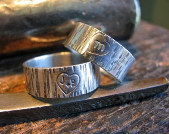 Heart on Tree Bark Sterling Silver Ring for Her