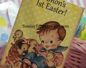 6 PAK Vintage Easter Tags / Adorable Vintage Baby Boy Chicks / Favor Gift Basket Tag / Gift Box Tag / Customize Text / 1-2 Day Ship