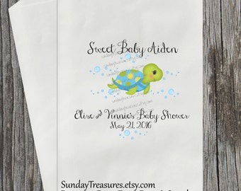 12 PAK Sea Turtle Favor Bags / Boy Girl Under the Sea / 1st Birthday Baby Shower / Candy Cookie Popcorn Treat Bags / PERSONALIZED  3 DayShip