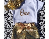 Gold Sparkle Sequin SHORTS, One Onesie , Gold Messy Bow. Boryhday Set. 1st Birthday ,Girls birthday outfit- Baby Girl sequin shorts