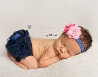 Baby BLOOMER and HEADBAND Set- Ruffle Bum Baby Bloomer with satin bow, Flower Headband, Newborn photo prop, diaper cover -Ready to ship