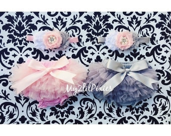 BLOOMER and HEADBAND sets- Twin baby Bloomers, Ruffle Diaper Cover,Twin Headbands, ruffle bloomers, lace bloomer, gray bloomer, pink bloomer
