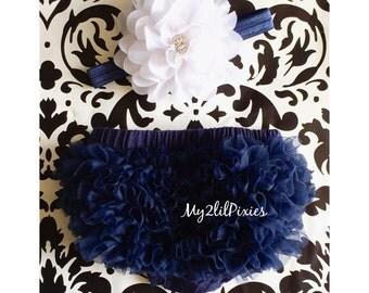 Baby BLOOMER and Baby Girl HEADBAND set. Ruffle Bum Baby BLOOMER Set, white Flower headband, Newborn Photo Prop,ready to ship- Ready to ship