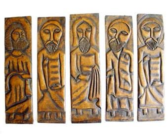 Old Vintage Antique Religious Artwork // Original Wood Panel Carvings // Jesus & Apostles // Folk Art Carvings // Catholic Icons