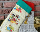 Chritmas stocking with Lady bugs print