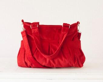 Crossover bag in red cotton corduroy, over shoulder bag crossbody purse shoulder bag messenger  bag - Elessa bag