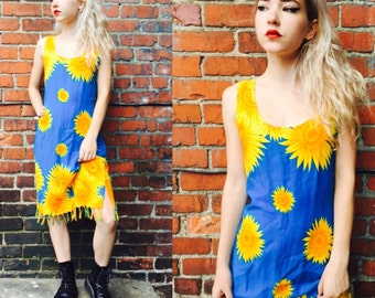 Vintage Sunflower Maxi Dress