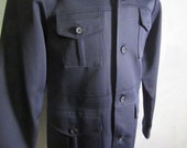 Retro Hipster Leisure Suit Jacket FARAH Size M Medium Blue Button Up Big Collar 70's style