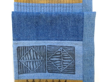 Denim Scarf; Table Runner; Hand Printed Scarf;