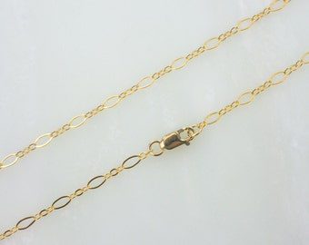 """20""""  Gold Filled Long And Short Oval Chain Necklace With Lobster Clasp"""