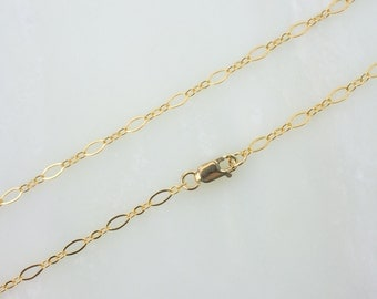 Any Length Gold Filled Long And Short Oval Chain Necklace With Lobster Clasp