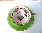 VALENTINES SALE Vintage Crown Staffordshire England Floral Bone China Tea Cup and Saucer,1940s,Green with Floral Berry Pattern,Footed,Scallo