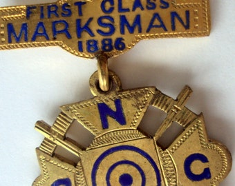 Antique Ladder Badge,Connecticut National Guard 1883-1886,Marksman,First class,Crossed Rifles,Military collectible,Markham Family Heirloom,