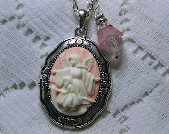 Guardian Angel Necklace,  Angel and Child, Religious Necklace, Christian Necklace, Pink & White Cameo, Silver and Pink, Crystal Charm