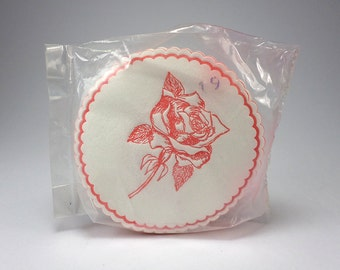 Hostess Absorbant  Coasters, Red Rose, Set of 18, Highly Absorbent, Drip Proof, F W Woolworth