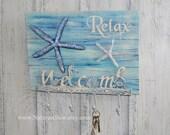 Welcome Sign - Relax Sign - Key Hooks - Starfish Decor - Beach Key Rack - Tropical Wall Decor - Wall Key Holder - Towel Hooks - Wood Planks