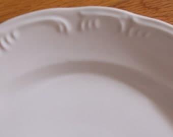 White Ironstone Meat Plate..White Embossed Meat Platter