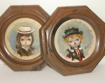 Big Eyed Kid Clowns Pictures Pair..Artist Signed..Franco..Mid Century Plastic Framed Pictures