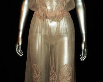 Original Boue Soeurs 1920's Filet Lace with Peplum Original Ribbonwork Lingerie Dress Rare Collectible Original Label Retained