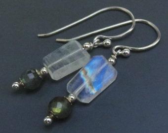Rainbow Moonstone Labradorite Gemstone Sterling Silver Earrings EE Designs