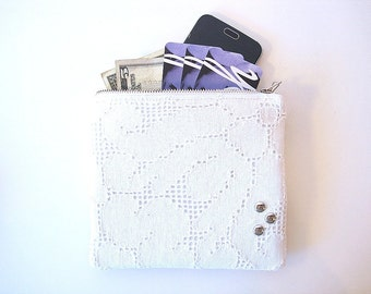 Ivory Vintage Lace Zipper Pouch With Coin Pocket Makeup Bag