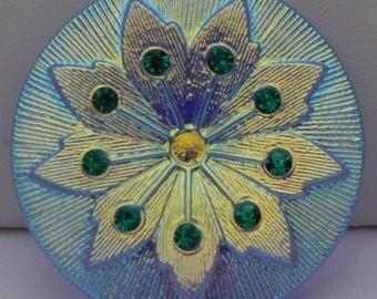 Large Rhinestone Flower Czech Glass Button