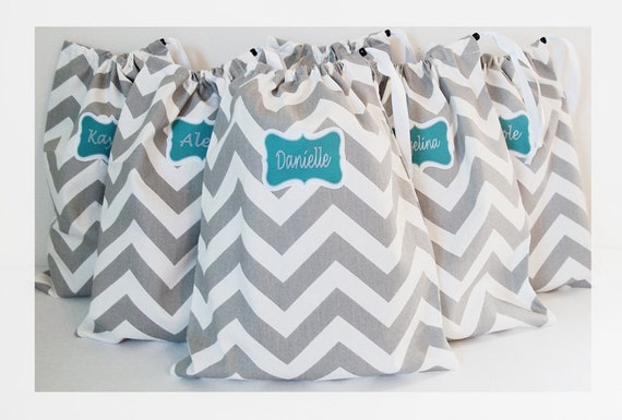 Personalized Shoe Bags, Lingerie Bags, Bridesmaid Gift Bags, Gift Wrap, Drawstring Bag, Makeup Pouch, Hostess Gift, Chevron Pattern Bag