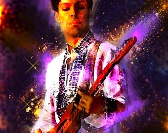 PRINCE 13 x 19 Digital Painting Print Custom Art Rock and Roll Punk Metal Musician Mancave