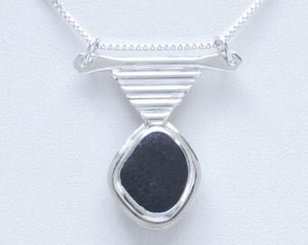 Sea Glass Jewelry - Sterling Rare Black English Sea Glass Necklace