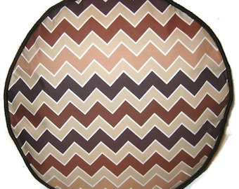 Brown Chevron Zigzags Pouffe Foot Rest Floor Cushion Pouf