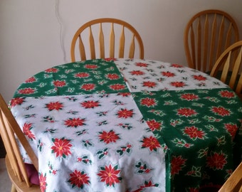 Handmade 60 in. Round Reversible Christmas Pointsettia Fabric Tablecloth