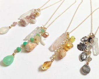 FREE SHIPPING Raw Quartz Necklace - Gold Fill