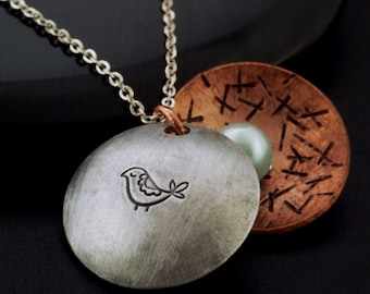 Birds of a Feather Locket -  Sterling Silver and Copper Necklace with Swarovski Pearls