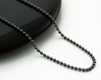 Black Oxidized Sterling Silver Bead Chain - 1.2mm - By the Foot or Finished in Custom Lengths -  Made in the USA