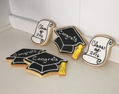 Graduation Cap and Scroll Hand Decorated Iced Sugar Cookies - 1 Dozen