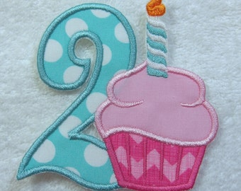 Number 2 with Cupcake Fabric Embroidered Iron On Applique Patch Ready to Ship