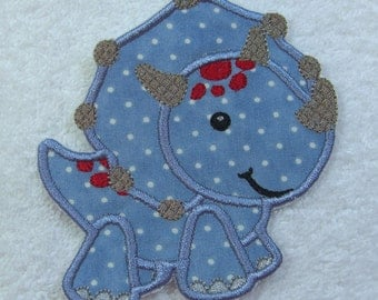 Blue Dinosaur Fabric Embroidered Iron On Applique Patch Ready to Ship