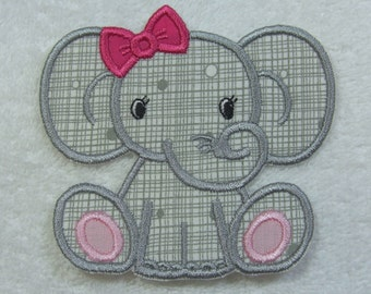 Baby Elephant (girl) Fabric Embroidered Iron On Applique Patch Ready to Ship