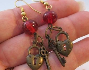15% OFF SALE Vintage Valentines Red Heart Lock & Skeleton Key Drop Dangle Earrings Costume Jewelry Jewellery