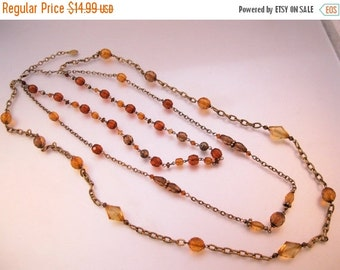 VALENTINES Day Sale ROBERT ROSE Triple Strand Amber Bead Necklace Vintage Costume Jewelry Jewellery