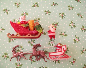 3 Christmas Decorations, 1960s, plastic, Santa Claus, reindeer