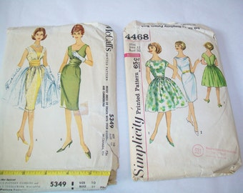 SALE - 2 Vintage Dress Patterns, Simplicity, 1950s, 1960s, Supplies
