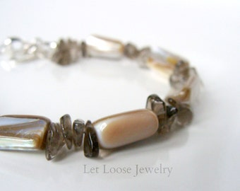Shell and quartz bracelet, brown lip shell smoky quartz chips sterling silver clasp, summery casual, Let Loose Jewelry, handmade, under 30